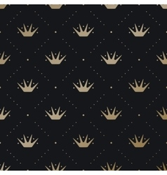 Seamless pattern with gold king crown on a dark vector image