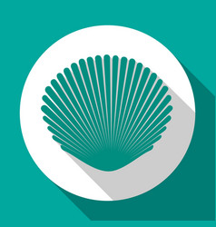 seashell flat icon turquoise color with long vector image