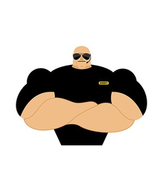 Security guard Strong Athletic man in black vector