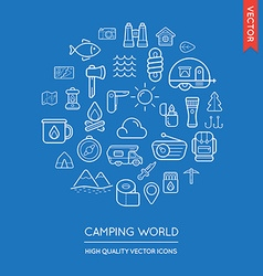 Set camping modern flat thin icons inscribed in vector