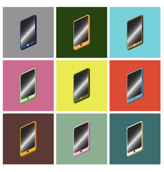 set icons in flat design mobile phone vector image