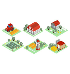 set isometric farm icons wooden barns vector image