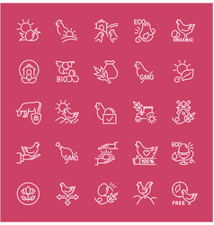set line icons food labels vector image