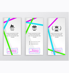 Set of business white vertical banners with brigh vector