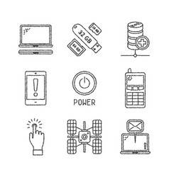 Set of electronics icons and concepts in sketch vector