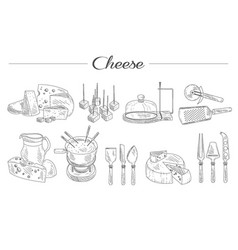 Set of sketch style cheese kitchen accessories vector