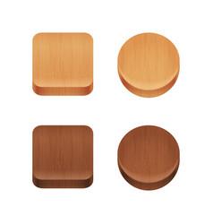 Set wooden app icons vector