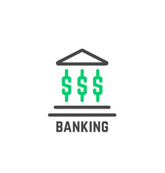 simple banking logo with abstract building vector image