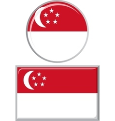Singapore round and square icon flag vector
