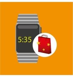 smart watch red bag gift star design vector image