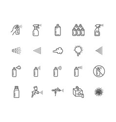 spray can flat line icons set hand with aerosol vector image
