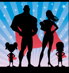 Superhero family with 2 girls and baby vector