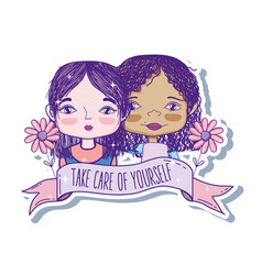 take care of yourself quote with girl cartoon vector image