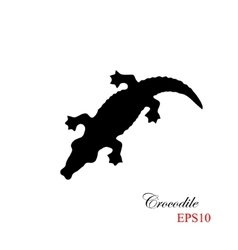 The black silhouette of a krocodile on a white vector