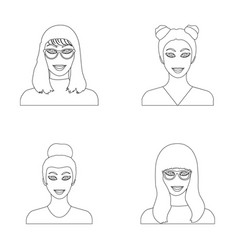the face of a girl with glasses a woman with a vector image