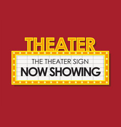 Theater glowing retro cinema sign vector