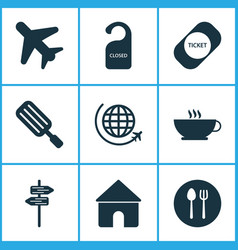 trip icons set with cutlery house pointers and vector image
