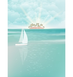Tropical sea with bright sunrise EPS 10 vector image