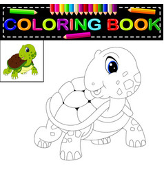 Turtle coloring book vector