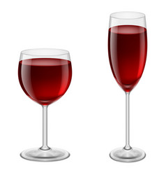 two glasses of red wine on white background for vector image