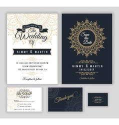 Vintage wedding invitation Mehndi mandala design vector image