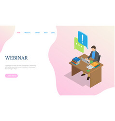 webinar website man working with laptop vector image