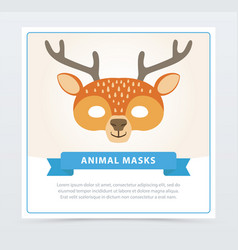 wild animal mask of brown spotted deer with horns vector image