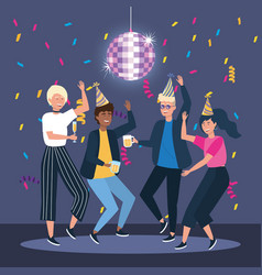 Woman and men dancing with hat and confetti vector