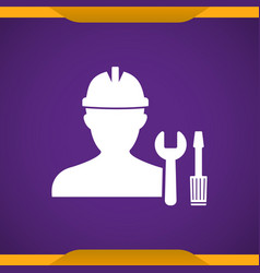 Worker with work tool icon for web and mobile vector