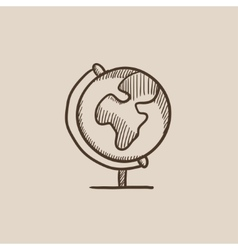 World globe on stand sketch icon vector image