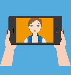 Young girl doing a selfie with smartphone vector