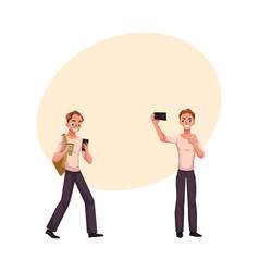 Young man using smartphone walking making selfie vector