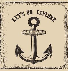 hand drawn anchor on grunge background design vector image