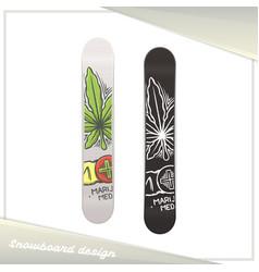medical marijuana snowboard two vector image vector image