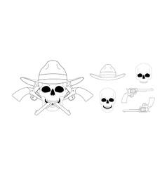 Skull in hat 2 crossed pistols emblem Linear vector image