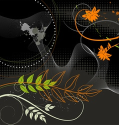 Wallpaper Plants on a black background vector image vector image