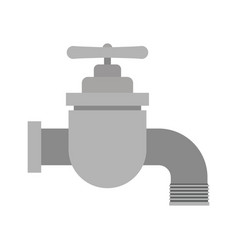 White background with color silhouette of faucet vector
