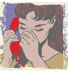 Woman talking on the phone sad pop art comics vector image