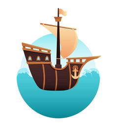 wooden ship in the ocean vector image