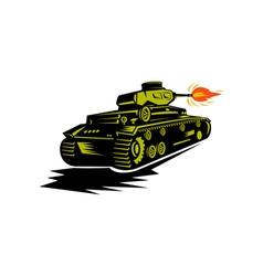 world war two battle tank firing cannon vector image vector image