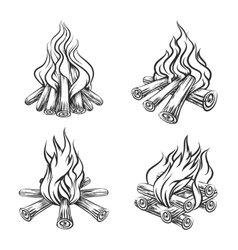 Hand drawn bonfire set vector image