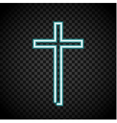 neon cross glowing cross religion christianity vector image
