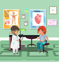 treatment with patient in doctor office vector image vector image