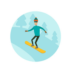 A man boy young person snowboarding in the vector