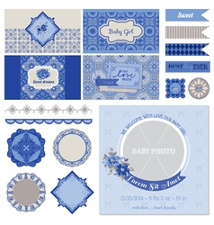 Baby Shower Flower Party Set vector image vector image