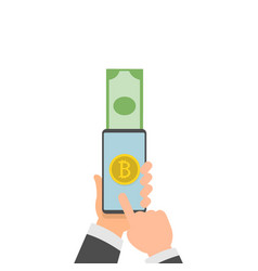 bitcoins icon of golden color on the screen of a vector image