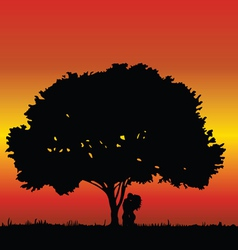 couple kissing under a tree vector image