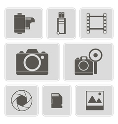 monochrome icons with photography theme vector image vector image