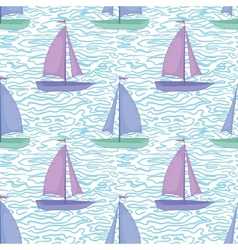 Seamless background sailboats and waves vector image vector image