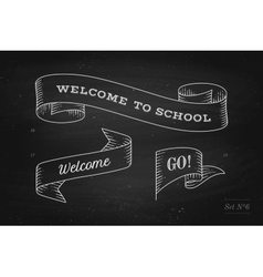 Set of old vintage ribbon banners and drawing in vector image